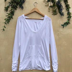 Zella Active Wear Vneck Hooded Long Sleeve Top